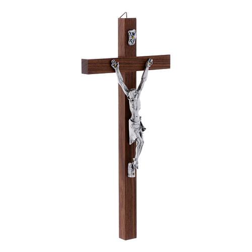 Crocifisso moderno in legno di noce e corpo in argento 25 cm 2