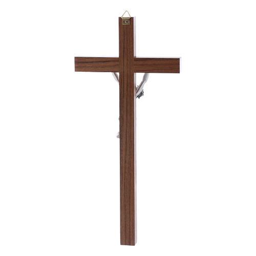 Crocifisso moderno in legno di noce e corpo in argento 25 cm 3
