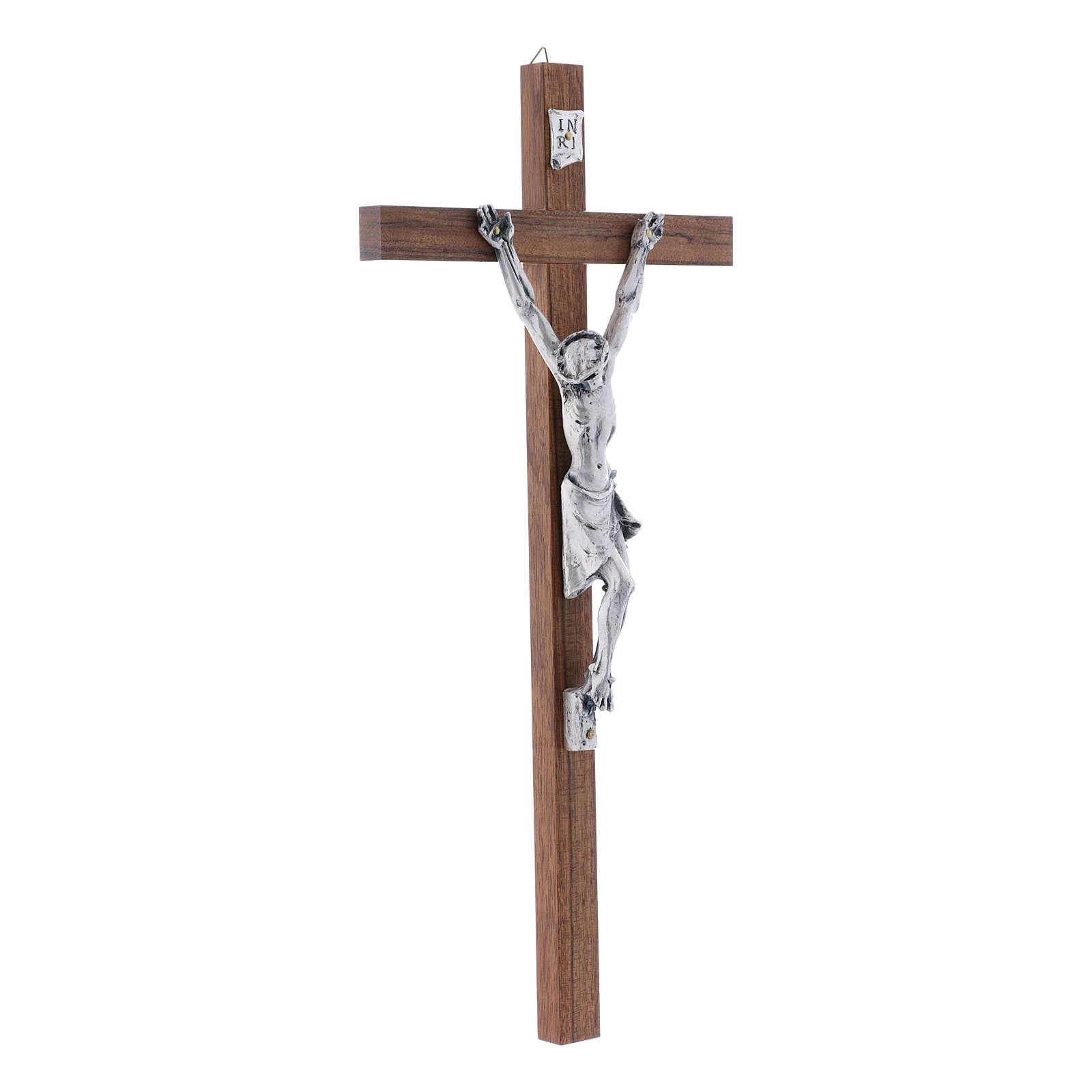Crocifisso in legno di noce moderno con corpo metallico 35 cm 4