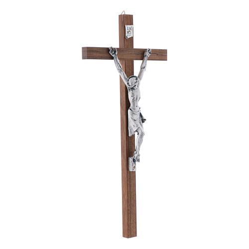 Crocifisso in legno di noce moderno con corpo metallico 35 cm 2