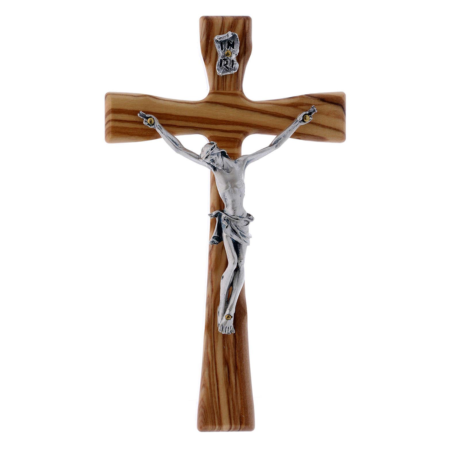 Crocifisso moderno in legno di olivo con corpo argentato 17 cm 4
