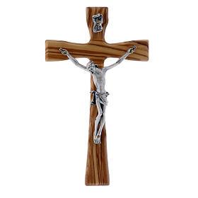 Crocifisso moderno in legno di olivo con corpo argentato 17 cm s1