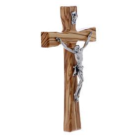 Crocifisso moderno in legno di olivo con corpo argentato 17 cm s2