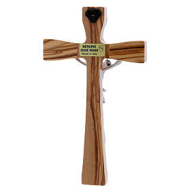 Crocifisso moderno in legno di olivo con corpo argentato 17 cm s3