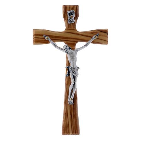 Crocifisso moderno in legno di olivo con corpo argentato 17 cm 1