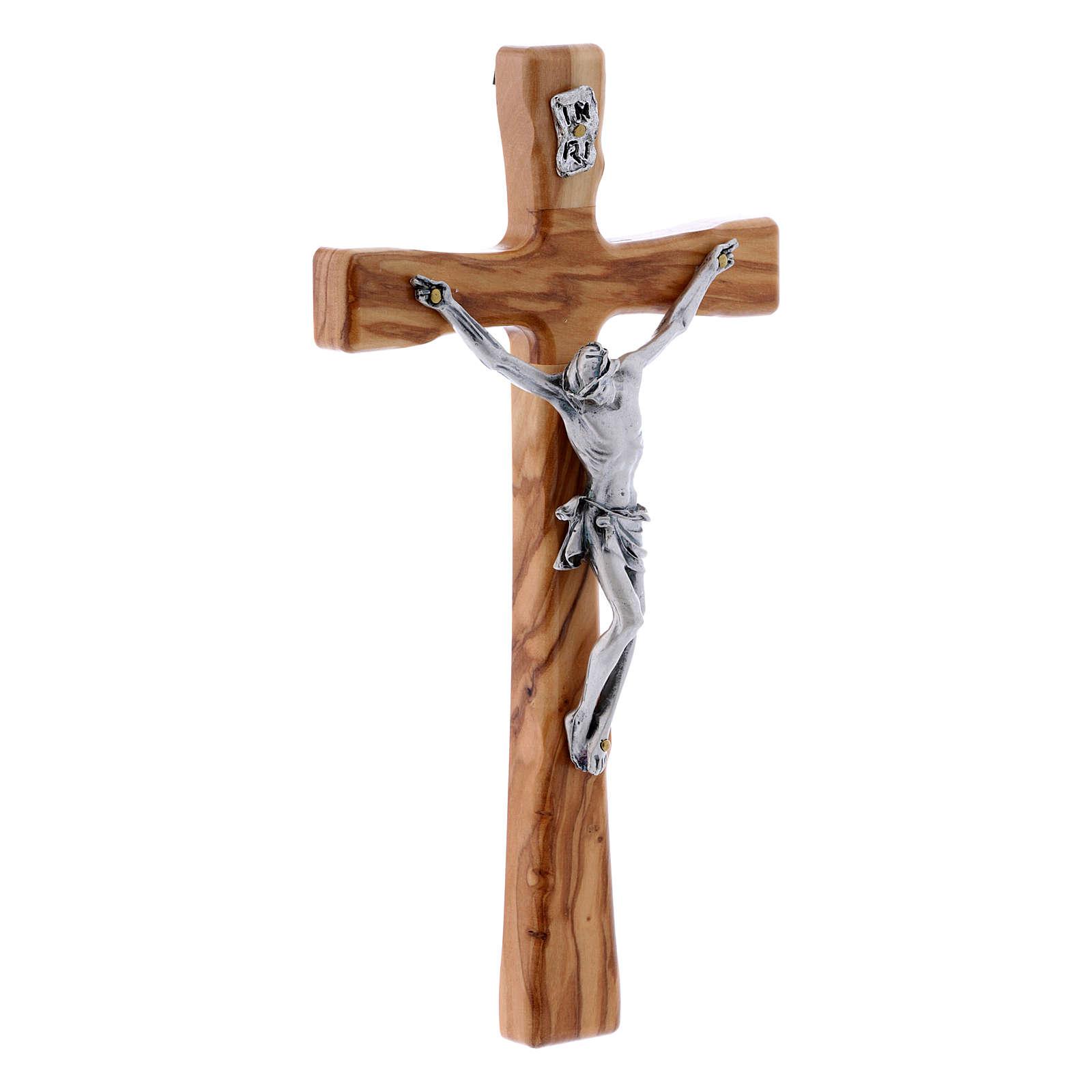 Crocifisso in legno di olivo moderno 20 cm 4