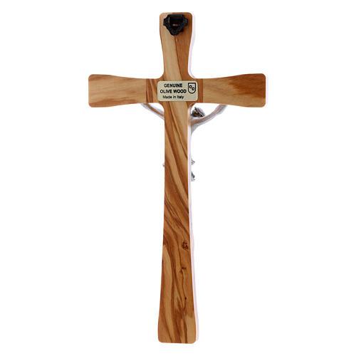 Crocifisso in legno di olivo moderno 20 cm 3