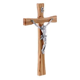 Crocifisso moderno in legno di olivo 25 cm con corpo metallico 10 cm s2