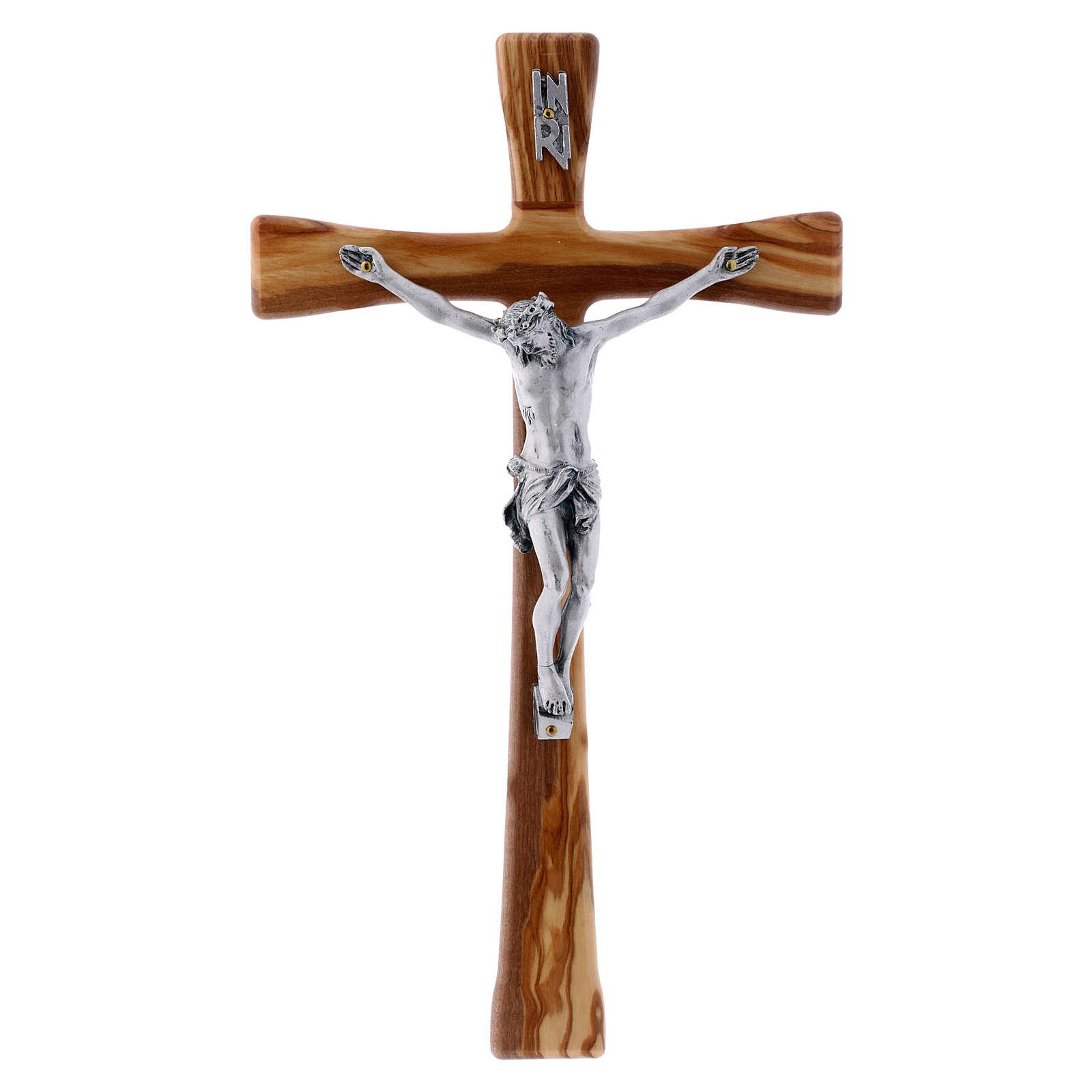 Crocifisso in legno di ulivo moderno 25 cm con corpo argentato 12 cm 4