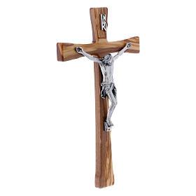 Crocifisso in legno di ulivo moderno 25 cm con corpo argentato 12 cm s2