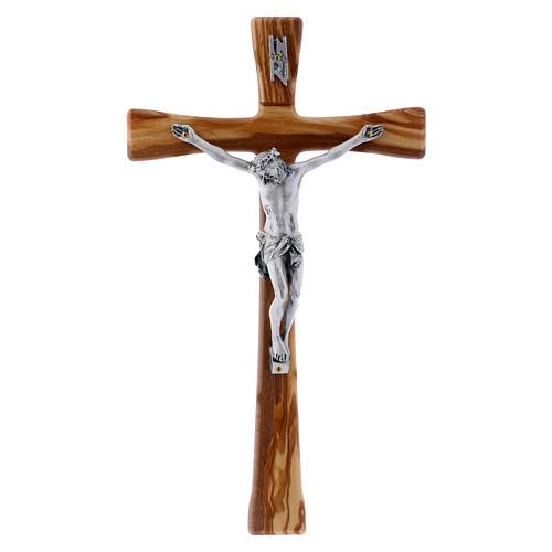 Crocifisso in legno di ulivo moderno 25 cm con corpo argentato 12 cm 1