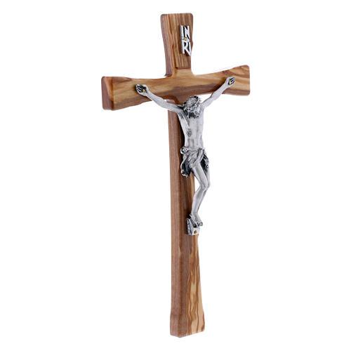 Crocifisso in legno di ulivo moderno 25 cm con corpo argentato 12 cm 2