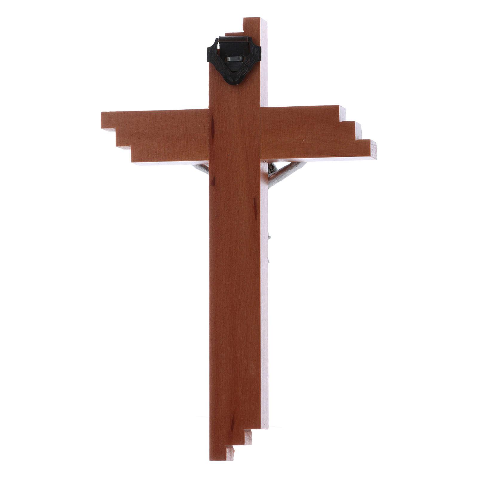 Crocifisso moderno in legno di pero seghettato 12 cm con corpo metallico 4