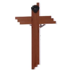 Crocifisso moderno in legno di pero seghettato 12 cm con corpo metallico s2