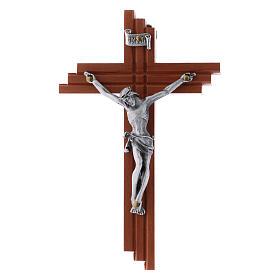 Crocifisso moderno in legno di pero seghettato 12 cm con corpo metallico s3