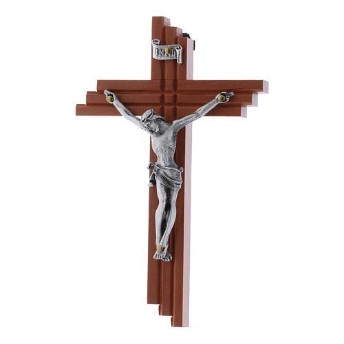 Crocifisso moderno in legno di pero seghettato 12 cm con corpo metallico 1