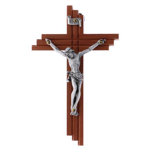 Crocifisso moderno in legno di pero seghettato 12 cm con corpo metallico 3