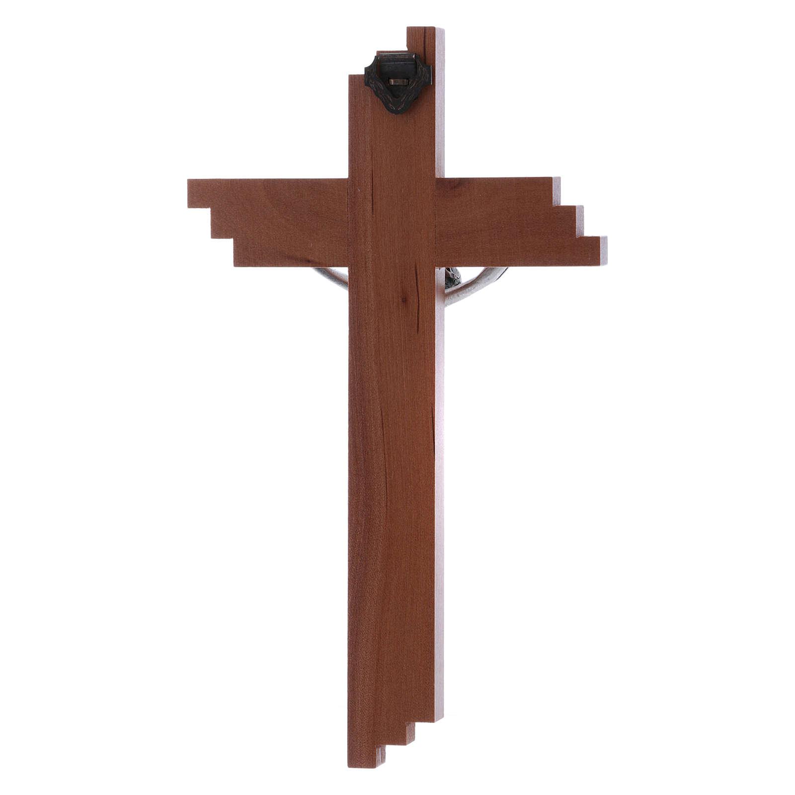 Crocifisso moderno in legno di pero 16 cm con corpo argentato 4