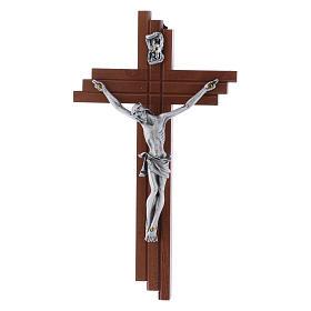Crocifisso moderno in legno di pero 16 cm con corpo argentato s1