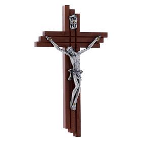 Crocifisso moderno in legno di pero 16 cm con corpo argentato s2