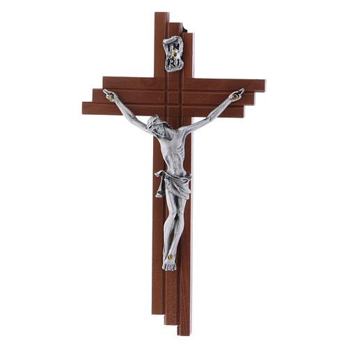 Crocifisso moderno in legno di pero 16 cm con corpo argentato 1