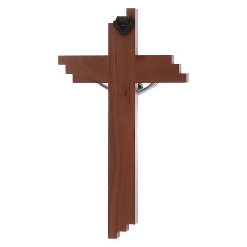 Crocifisso moderno in legno di pero 16 cm con corpo argentato 3