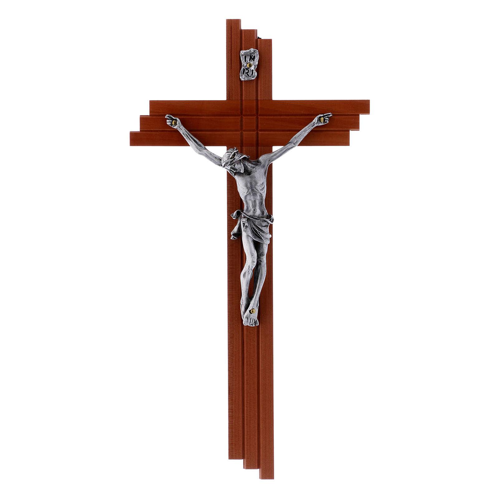 Crucifix moderne en bois de poirier 25 cm avec corps métallique 4