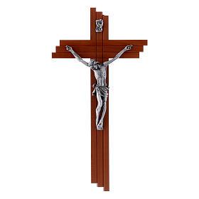 Crucifix moderne en bois de poirier 25 cm avec corps métallique s1