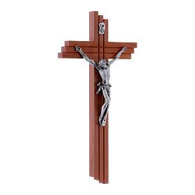 Crucifix moderne en bois de poirier 25 cm avec corps métallique s2