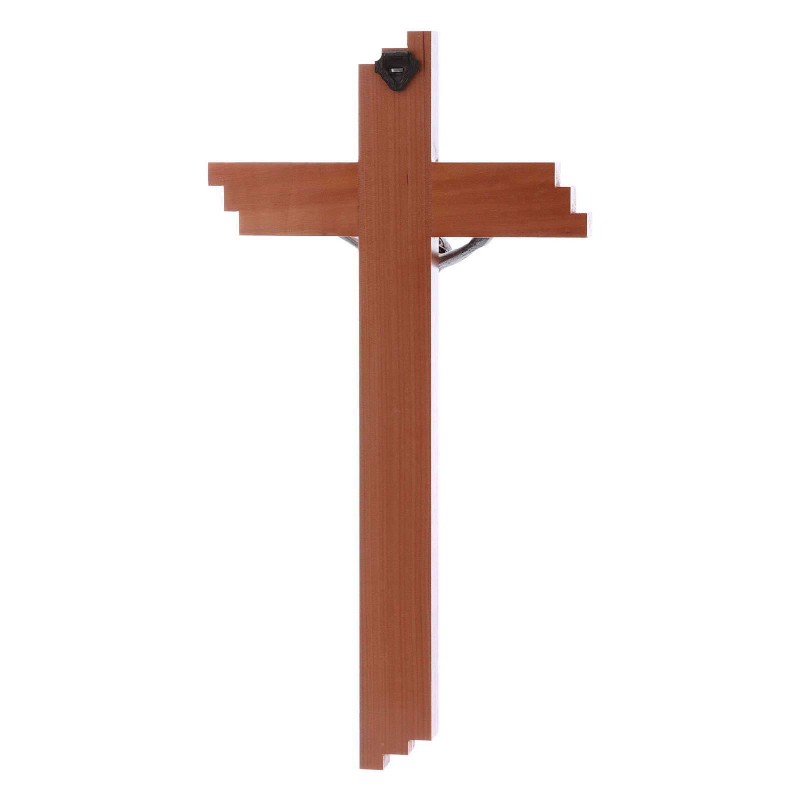 Crucifixo moderno em madeira de pereira 25 cm e corpo metálico 4