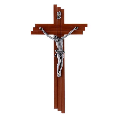 Crucifixo moderno em madeira de pereira 25 cm e corpo metálico 1