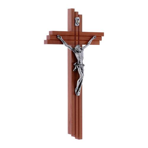 Crucifixo moderno em madeira de pereira 25 cm e corpo metálico 2