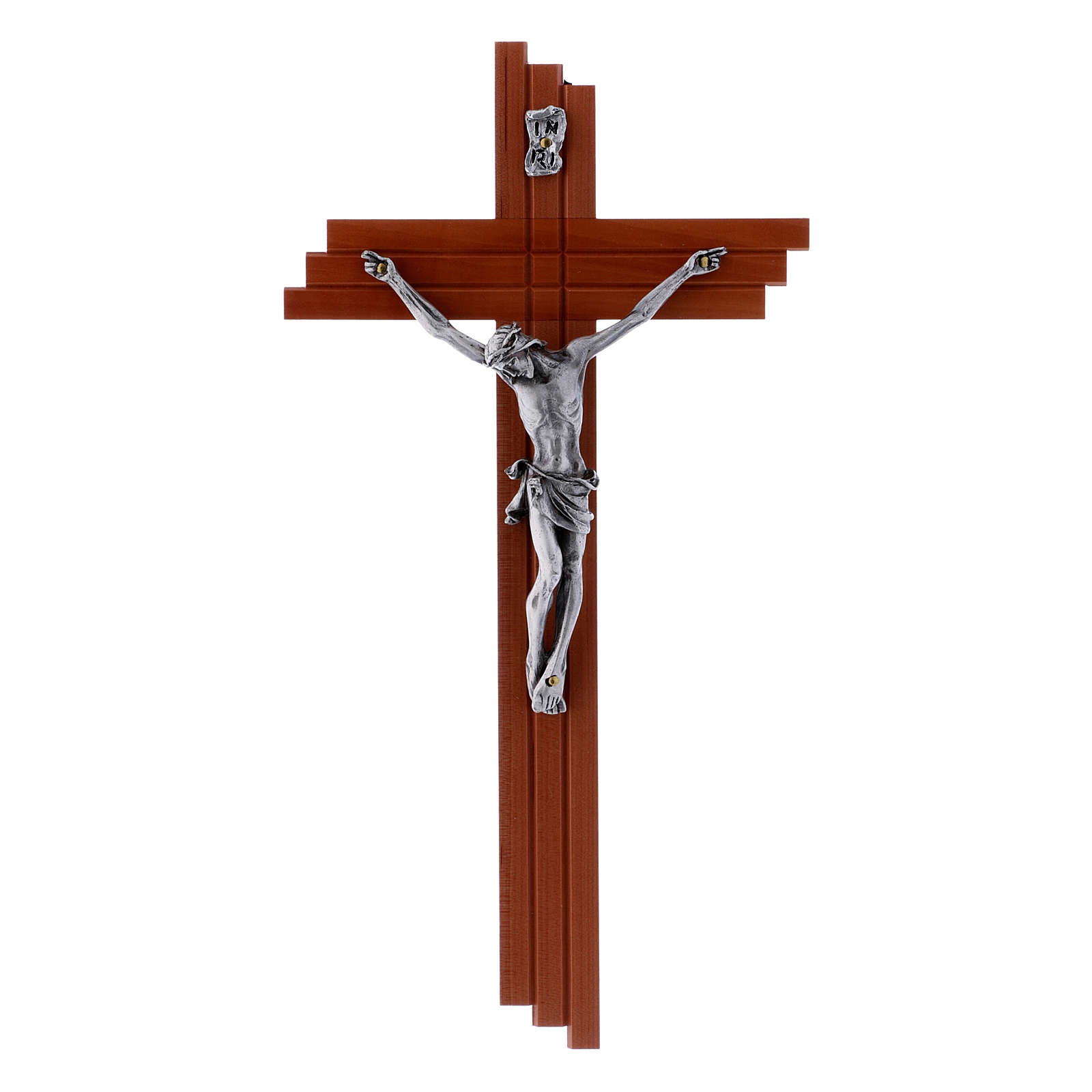 Crucifix modern in pear wood 25 cm with metal body 4