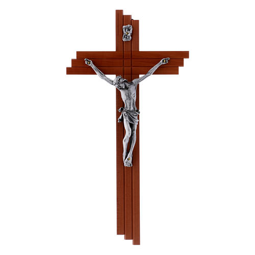 Crucifix modern in pear wood 25 cm with metal body 1