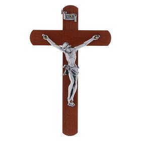 Crocifisso moderno in legno di pero arrotondato 12 cm con corpo metallico s1
