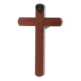 Crocifisso moderno in legno di pero arrotondato 12 cm con corpo metallico s3