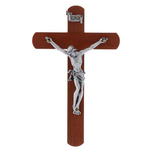 Crocifisso moderno in legno di pero arrotondato 12 cm con corpo metallico 1