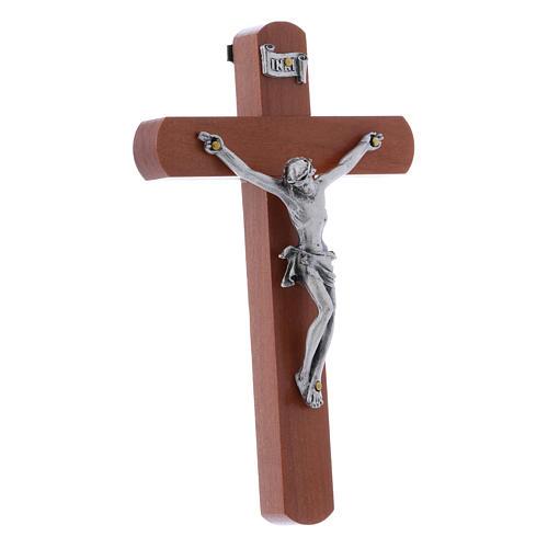 Crocifisso moderno in legno di pero arrotondato 12 cm con corpo metallico 2