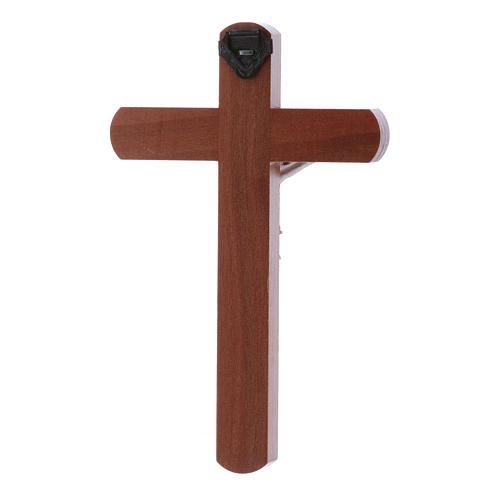 Crocifisso moderno in legno di pero arrotondato 12 cm con corpo metallico 3