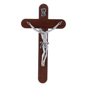 Crocifisso arrotondato moderno in legno di pero 16 cm con corpo argentato s1