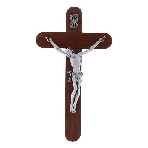 Crocifisso arrotondato moderno in legno di pero 16 cm con corpo argentato 1