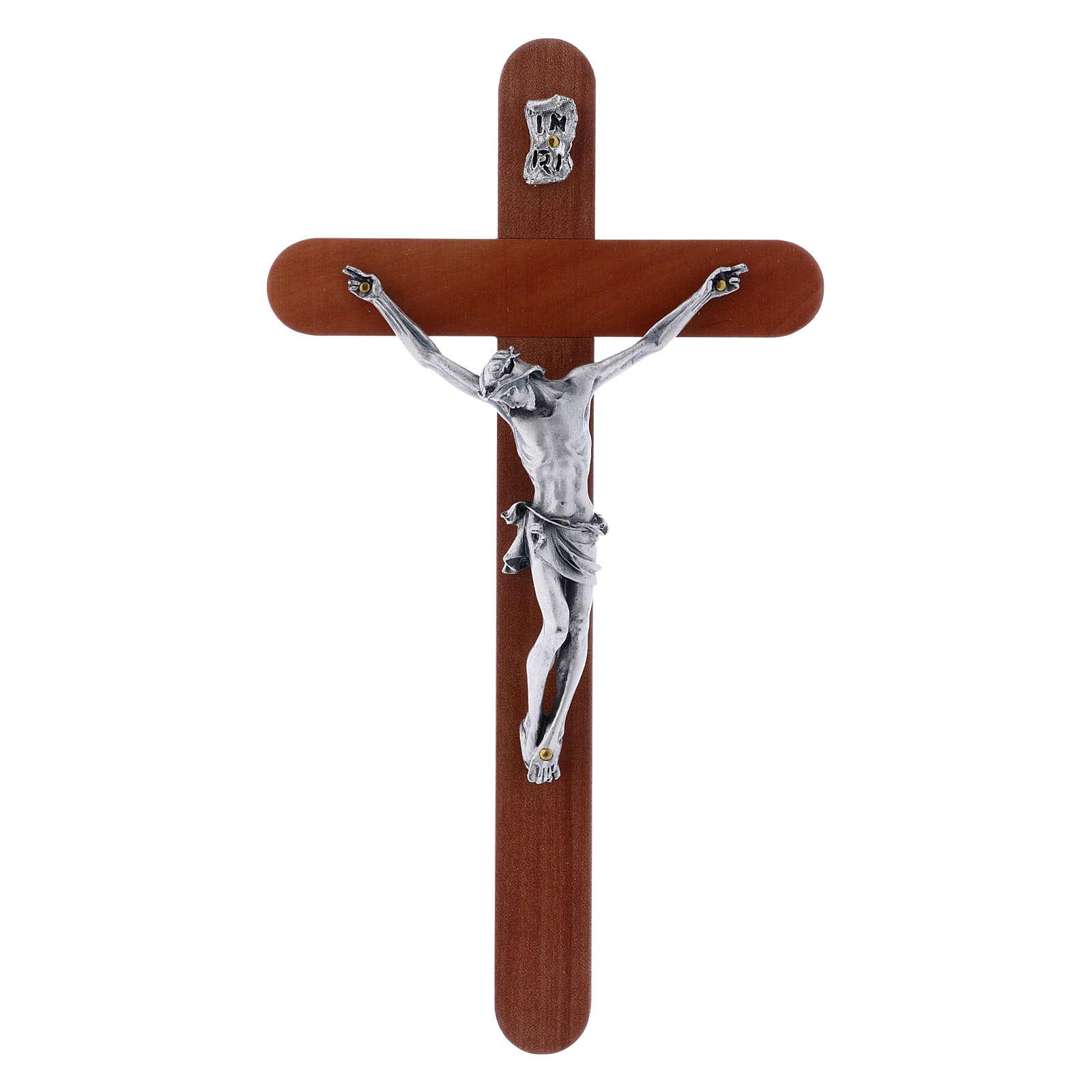 Crocifisso moderno in legno di pero arrotondato 21 cm corpo metallico 4
