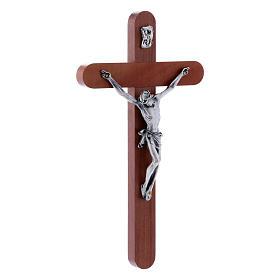Crocifisso moderno in legno di pero arrotondato 21 cm corpo metallico s2