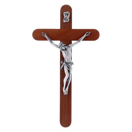 Crocifisso moderno in legno di pero arrotondato 21 cm corpo metallico 1