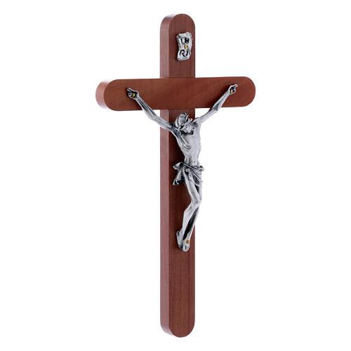 Crocifisso moderno in legno di pero arrotondato 21 cm corpo metallico 2