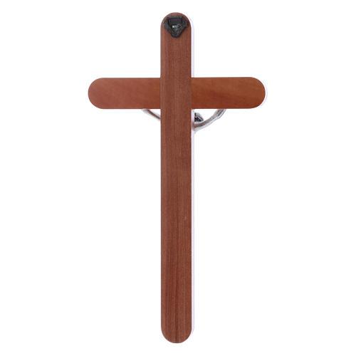 Crocifisso moderno in legno di pero arrotondato 21 cm corpo metallico 3