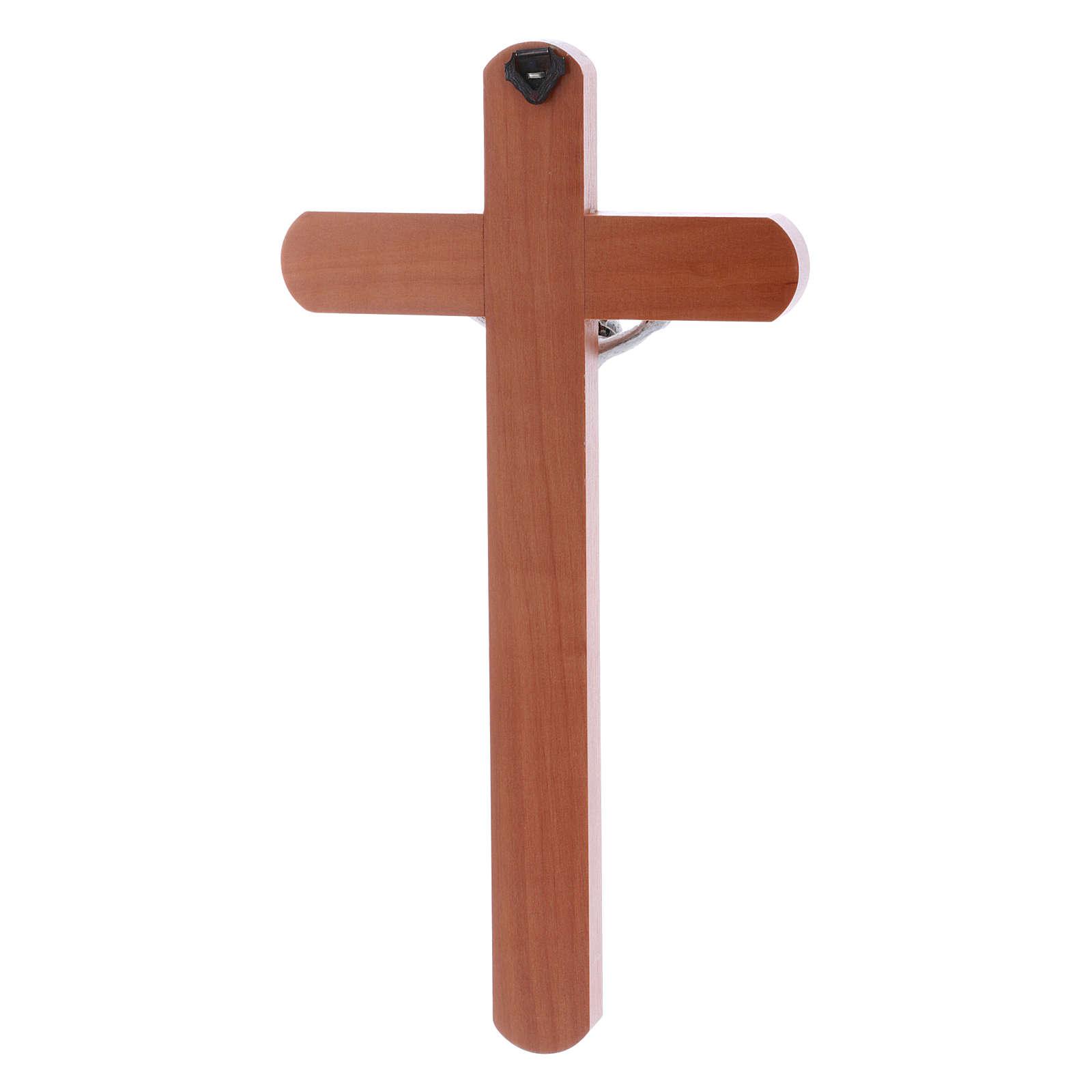 Crocifisso moderno arrotondato legno di pero 25 cm 4