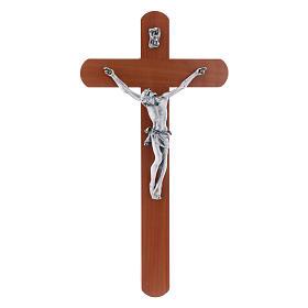 Crocifisso moderno arrotondato legno di pero 25 cm s1