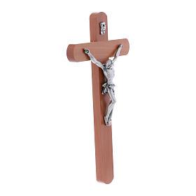 Crocifisso moderno arrotondato legno di pero 25 cm s2