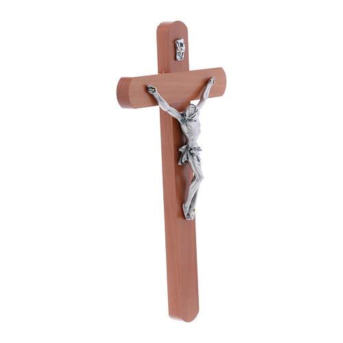 Crocifisso moderno arrotondato legno di pero 25 cm 2